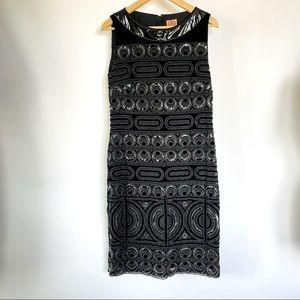 TORY BURCH // LBD black beaded cocktail dress 10